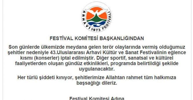 Arhavi Festivalinde Konserler İptal Edildi