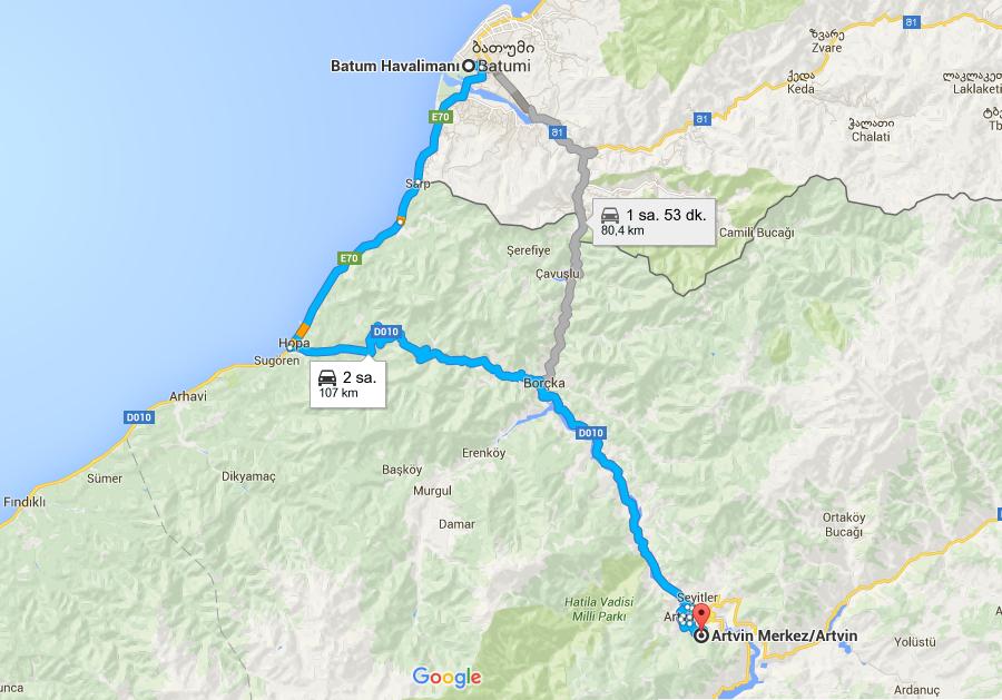 7---- 107 KM Artvin Batum 107 KM